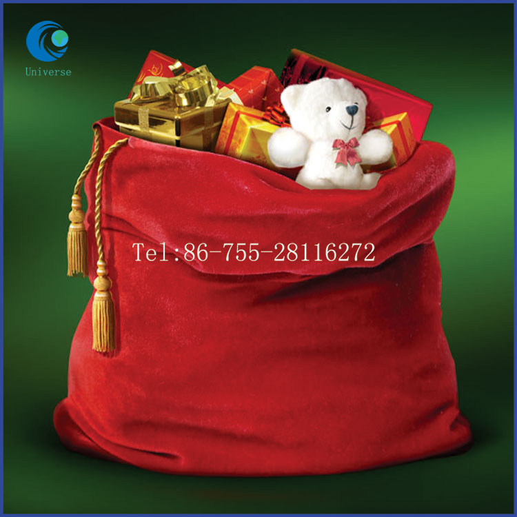 Large size drawstring velvet christmas gift bag with