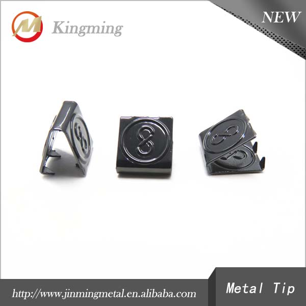 Decorative Square Engraved Logo Metal Cord Ends