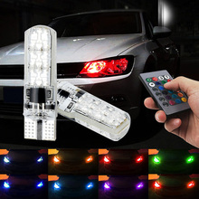 EURS None polarity RGB remote control 5050 Canbus shenzhen auto electrical system 12v t10 5W led silicone bulb plate smd light