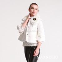 Fashion rabbit fur collar short cheap fur womens jackets coats
