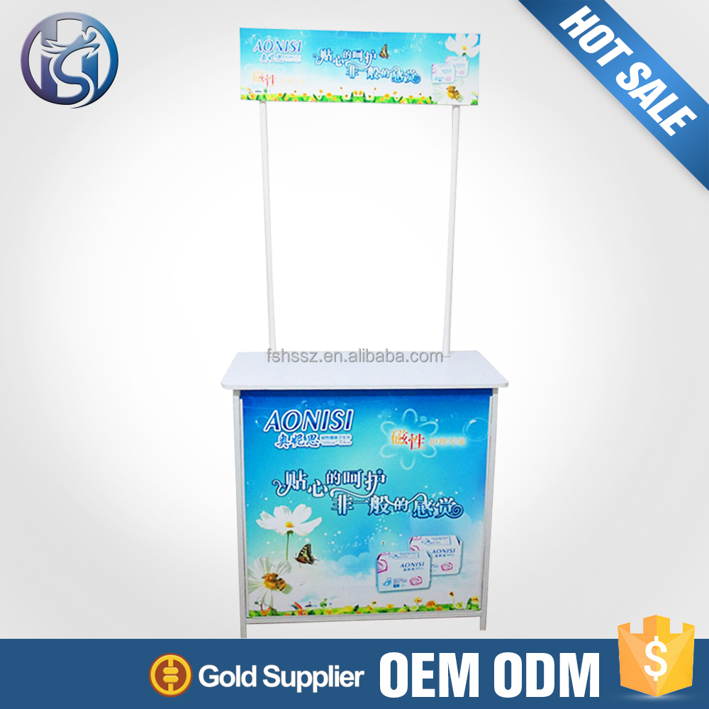 Marketing Pvc Board Portable Display Stand Promotion Table Outdoor Kiosk