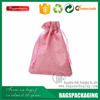 Pink lady burlap jewelry drawstring bag