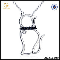 Solid 925 Sterling Silver Cat Necklace Black CZ Cat Pendant Cute Pet Jewelry