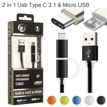 2 in 1 USB Type C 3.1 & Micro USB to USB Type A Data Charging Cable with Aluminium Case