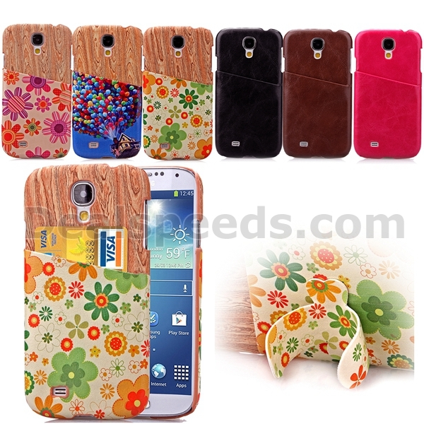 Wood Pattern With Card Slot Stand Cases for Samsung Galaxy S4 Card Holder i9500-Sun Flowers