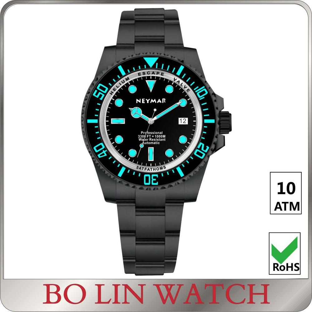 40mm diving watch 1000m, 100atm watch divers, eta movement 2824 watch