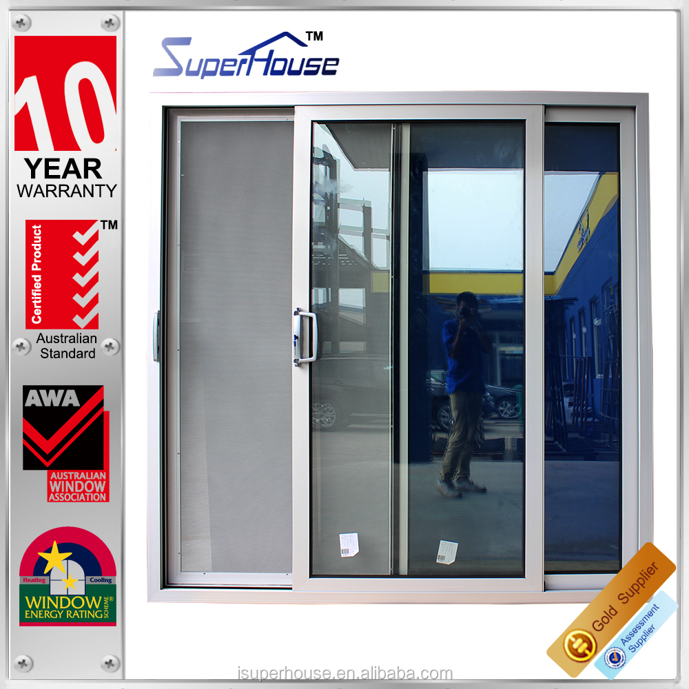 Australia standard AS2047 factory large size temple glass entry sliding door with flyscreen