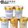 Custom Printing Cold Ice Cream Yogurt Paper Cup with gold color Lid