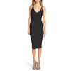 Pure Cashmere Knitting Deep V Neck Sexy Latest Porn Moroccan Party Cutout Strap Body-Con Dress
