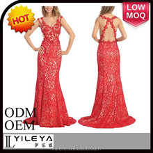 newest most popular red long lace evening dress