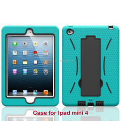 Heavy Duty Shockproof Drop Resistance Rugged Silicone + PC Case with kickstand for Apple iPad Mini 4