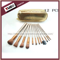 12pcs naked 2 cosmetic make up brush set synthetic hair mix animal hair with gold pouch