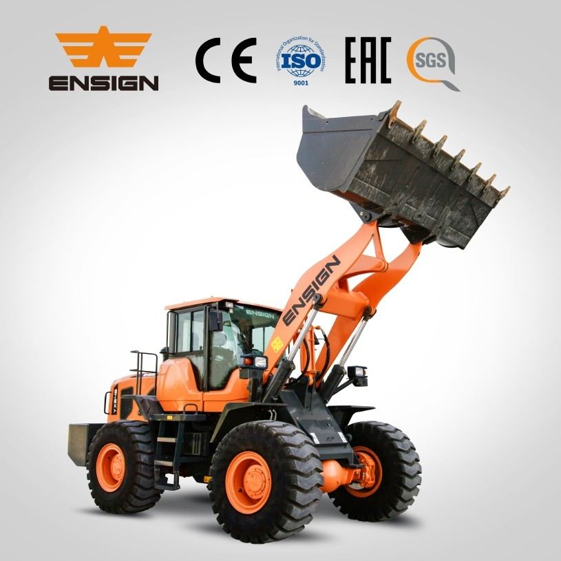 Earth moving equipment ENSIGN brand 5 ton wheel loader YX655 front loader, 3 CBM bucket.162KW Weichai engine.