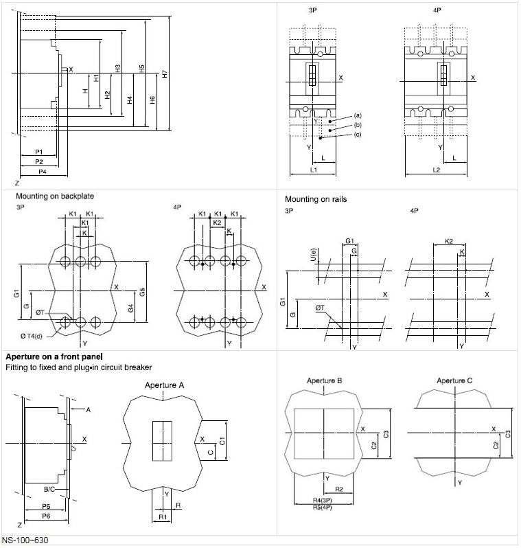 ns nsx 3pole 4 pole mccb 150 amp circuit breaker
