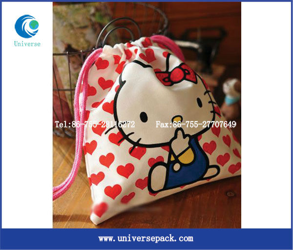 Hello kitty canvas drawstring watch bag