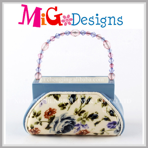 Blue Flowers Pattern Vintage Bag Ring Display Holder Bag
