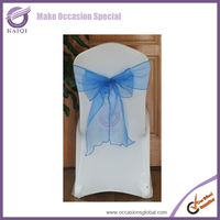 BS007 royal blue color lycra sheer organza chair cover sashes bow for wedding decoration