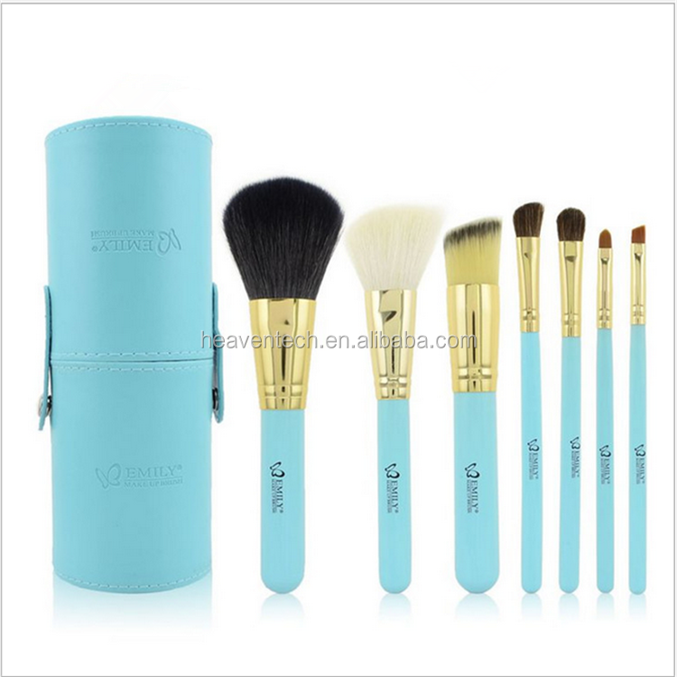 Professional Emily 7pcs Goat Hair Makeup Brushes Packaging With Cylinder