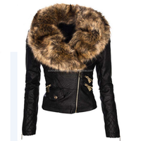 PU Big Collar Short Faux Fur