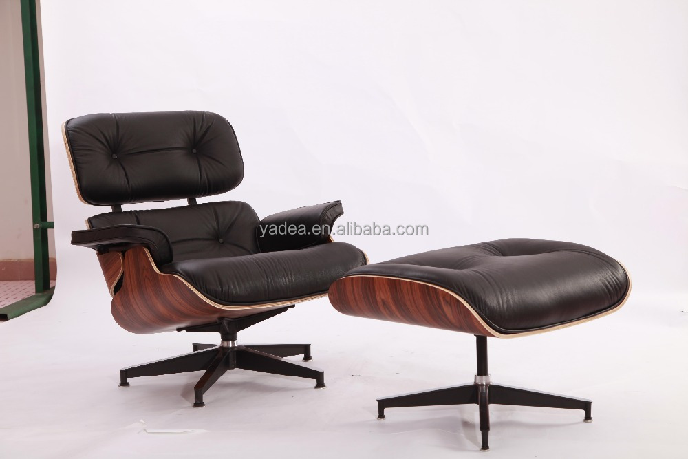 Top quality black aniline leather rose wood veneer Charles Ames lounge chair and ottoman
