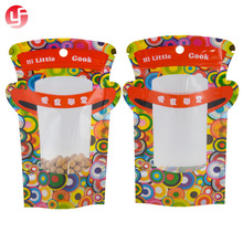 2018 New product colorful Christmas candy packaging bag with clear window and zip lock