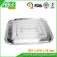 Disposable rectangular aluminium foil container for foodservice of taking away