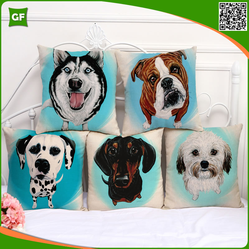 High Quality Polyester Funny Dogs Digital Printing Cushion Cover Wholesale