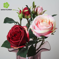 real touch small pink rose ,artificial single long stem rose flower for decoration