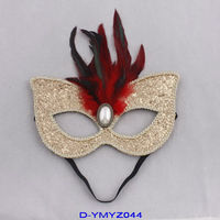 Fashion promotion Cheap Christmas party masks with glitter and feather