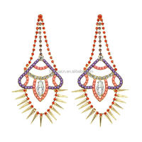 Colorful Dangle Earring New Brincos Grandes from India Drop Earrings with Gold Color Alloy Rivet for Fashion Lady