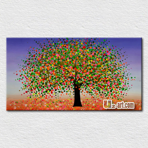 High quality texture tree landscape oil painting for kids room wall <strong>decoration</strong>