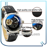 Tourbillon Watches Automatic Movement With Water Resistant Leather Strap