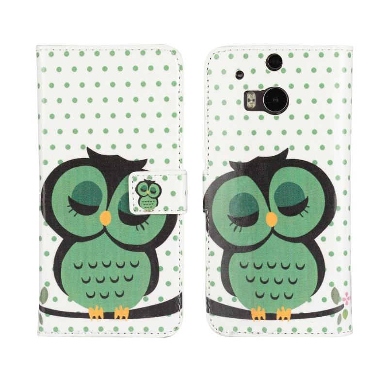 Flip Wallet Cases For HTC One M8 Phone Accessory Mobile Bag Cute Owl Cover Case Book Stand Money Holder Card Slot
