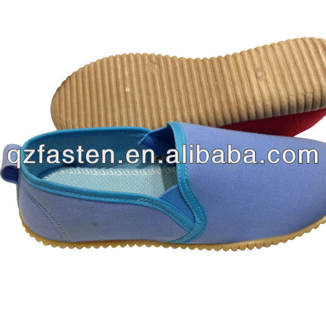 Cheap price injection shoes of canvas upper,PVC sole blue color