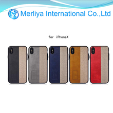 Fashion Stripe Spell Color Shockproof PU Leather Case For Apple iPhone X