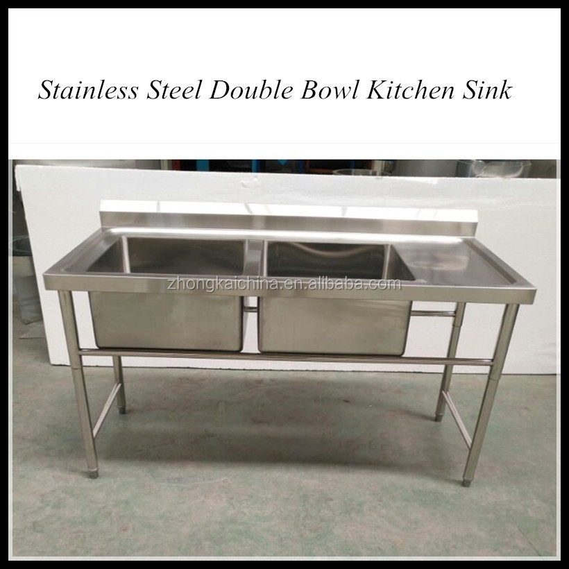Commercial Wholesale Cheap Price 2 bowl stainless steel sink with drainer
