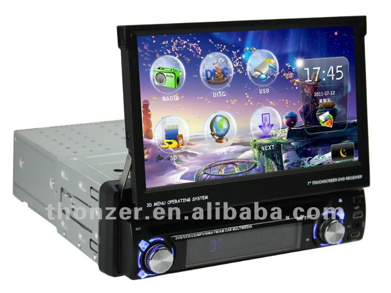 7 inch Universal One din Car GPS DVD with detachable Panel