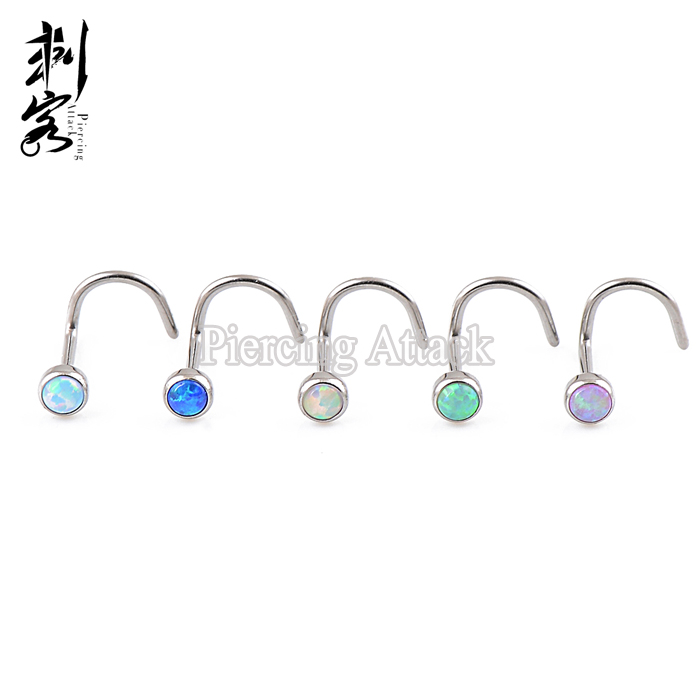 G23 Solid Titanium Opal Fancy Nose Ring Body Piercing Jewelry