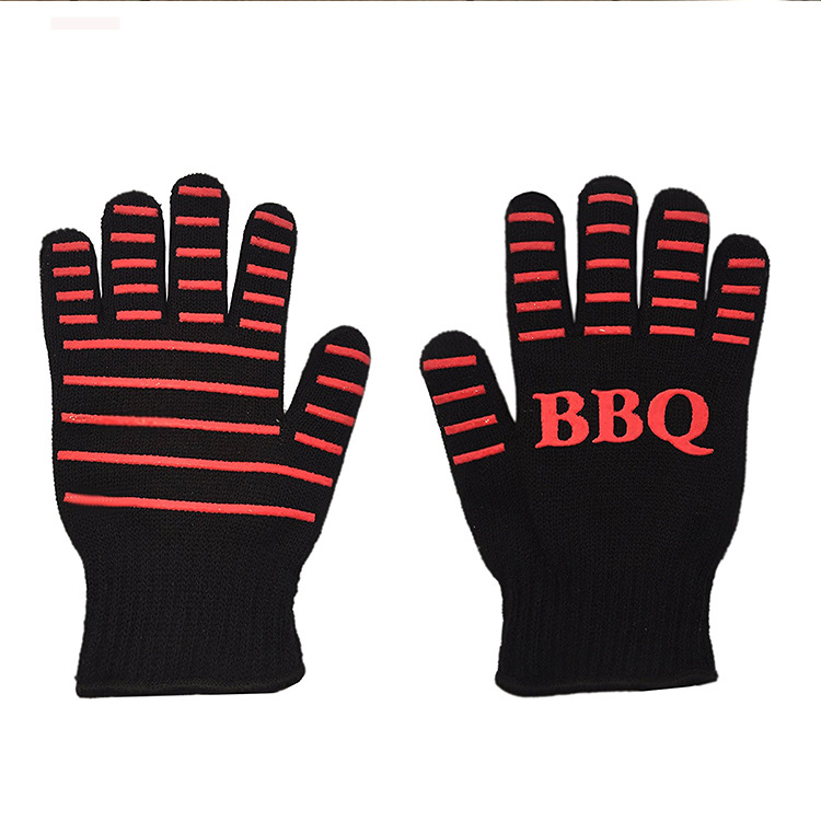 Factory price 500 degree heat resistant silicon cotton bbq gloves
