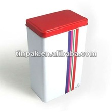 rectangular stackable tin box with lift lid