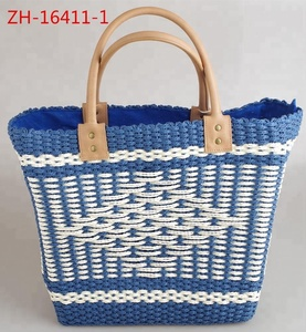 College style stripe girl's bag handmade straw bags beach tote bags