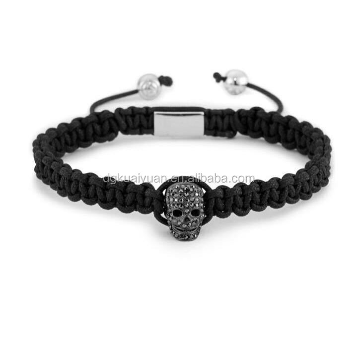2016 new designs custom logo tag 316L stainless steel fashion mens gunmetall skull macrame bracelets
