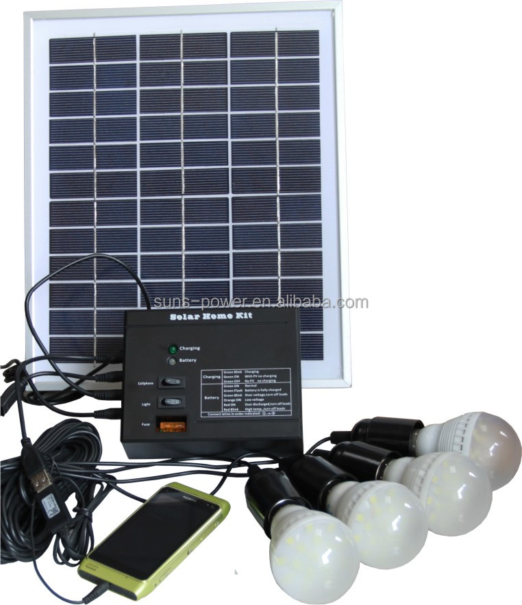Portable home use stand alone solar power system 10W for lighting and mobile charger