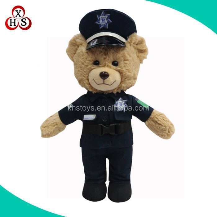 High quality 35cm height soft plush police teddy bear in stock no minimum