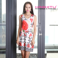 digital all over print ladies dress sleeveless dress women casual one piece dress in floral print new design 2015