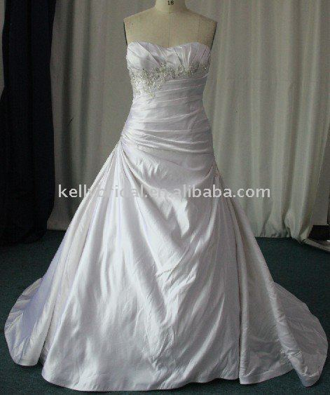 newly classic beaded silk satin plus size wedding dresses DF077