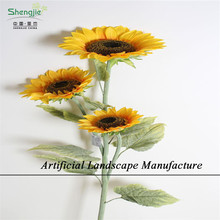 SJZS03 Wholesale artificial sunflower for home furnishing decoration , fake plastic silk sunflower