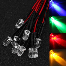 50 X 5MM LED Pre-Wired Resistor 12V 10X Each color Red Blue Green Yellow White Emitting Diodes Round 20 CM Pre Wired Light DIY