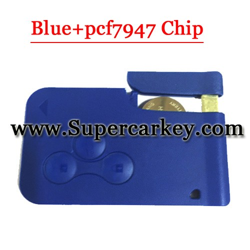3 Button Remote Smart Card Blue Colour for Renault Megane