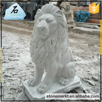 Natural stone garden outdoor life size animal lion marble sculpture